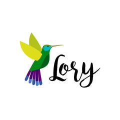 Exotic tropical bird isolated on white background. Lory bird vector element with hand drawn inscription