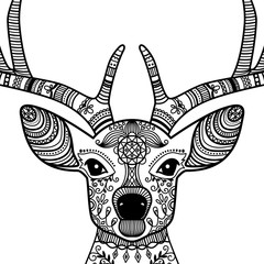 Hand drawn black contour horned deer head with floral ornament, vector illustration