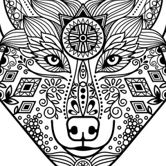Zentangle black contour wolf head with hand drawn guata vector ornament