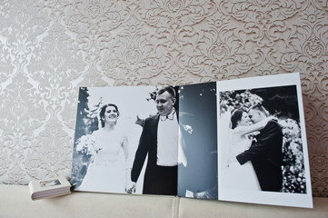 Dual pages of wedding album or wedding book.