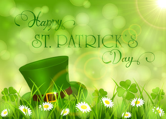 Sunny Patricks Day background with hat of leprechaun and clover