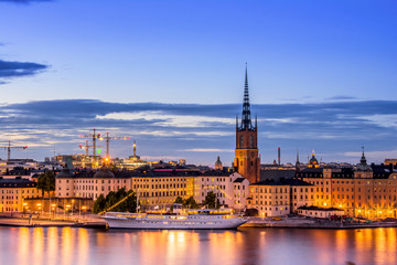 Wall Mural - Stockholm cityscape during sunset time.