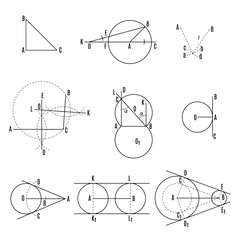 mathematical illustration. Geometric drawing set