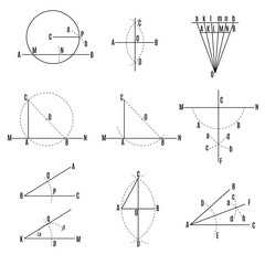 mathematical illustration. Geometric drawing set.