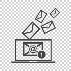 Email message on laptop. Vector illustration in flat style on isolated background.