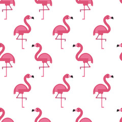 Vector seamless pattern with flamingo.