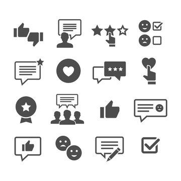 Customer reviews vector icon set