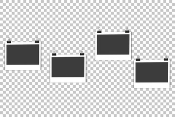 4 blank photo frames hanging on line, on the background isolate. Stylish vector illustration