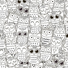 Doodle owls seamless pattern