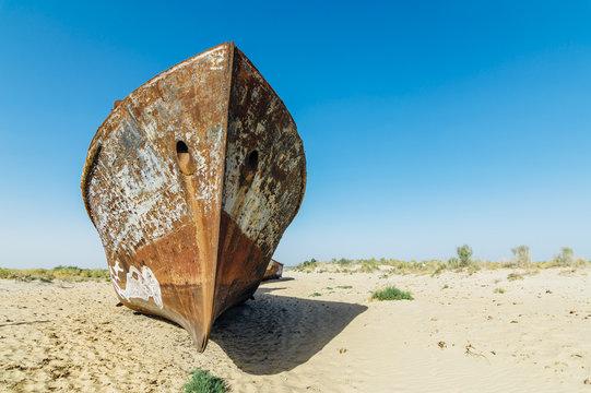 Muynak (Moynaq) ship graveyard in Uzbekistan