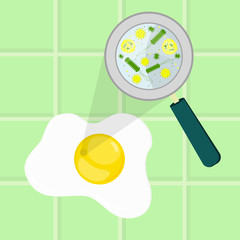 Contaminated egg. Microorganisms, virus and bacteria (salmonella) in the raw egg enlarged by a magnifying glass. Tiles in the background.