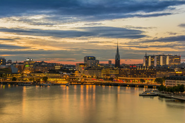 Wall Mural - Beautiful Stockholm cityscape during sunset time, Sweden.