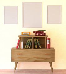 Mock up interior reading room. Books on a wooden cabinet retro.