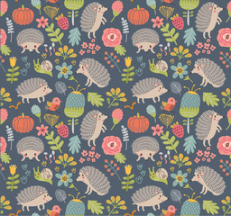 Seamless pattern forest with  hedgehogs