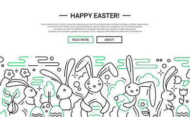 Easter - line design website banner