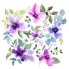 Floral background with violet flowers. Watercolor floral bouquet. Birthday card.