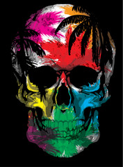 Foto auf AluDibond Aquarell Schädel Beautiful hand drawn sketch illustration the skull on the watercolor background