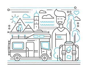 Caravan Tourism - line flat design illustration