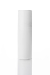 Blank cosmetic tubes on white background. White and silver color