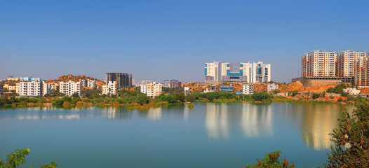 Hyderabad city skyline in India