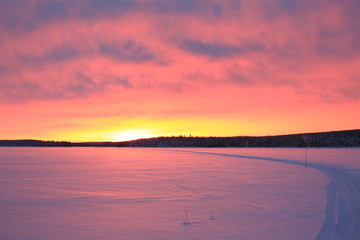 Dawn over the Palojarvi Lake in Finland