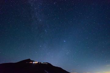 長野 北アルプス 星空と白馬岳山頂