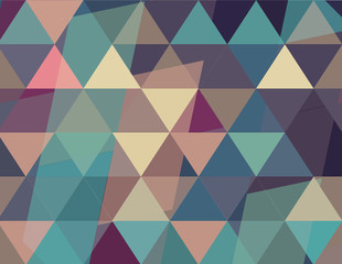 Abstract vintage background made by geometrical elements: triangle and rectangle overlays in low saturation colors, perfect for desktop wallpapers. Green, purple, dark blue, brown, sepia, pink, grey.