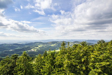 View over the bavarian forest with some clouds and sunshine