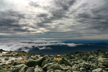 View from Mount Washington with dark and cloudy weather