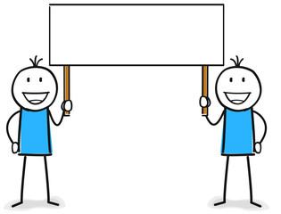 Zwei Figuren heben ein leeres Banner