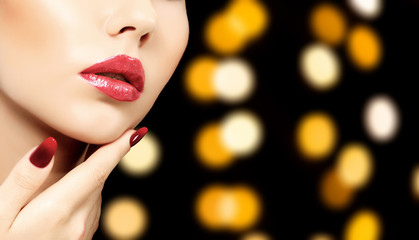 Beautiful woman face against an abstract background