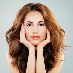 Perfect Woman with Nude Makeup. Cute Face Closeup