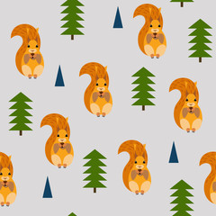 Seamless pattern with a picture of squirrels.