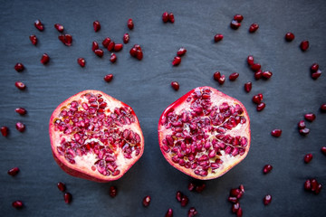 Juicy pomegranate halves