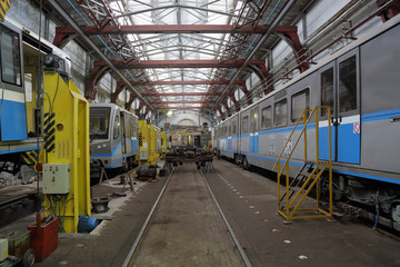 The depot with workshops for the repair of subway's rolling stock and metro wagons