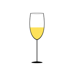 Simple glass of champagne illustration