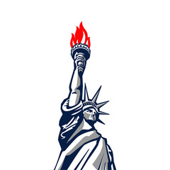 Liberty statue monument vector silhouette USA New York Patriotic