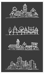 City skylines in cartoon doodle style on chalkboard background