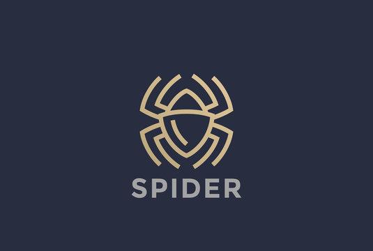 Spider Logo design vector Linear. Dangerous Poison Bugs symbol