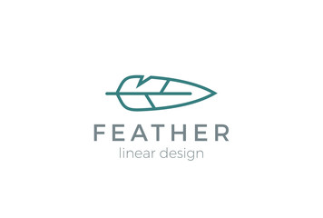 Quill Feather Pen Logo design vector Linear style