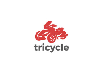 Tricycle Logo design vector silhouette. Motorbike bike icon.