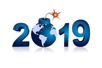 year 2019 and bomb with world map
