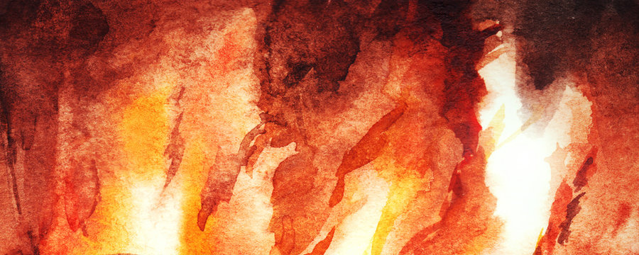 Watercolor fire flame fireplace abstract texture background