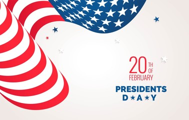 Happy Presidents` Day  flyer, banner or poster. Holiday background with waving flag and text. Vector flat illustration