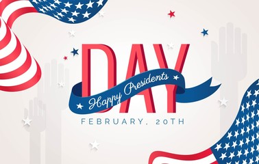 Happy Presidents` Day flyer, banner or poster. Holiday background with waving flags, text and hands up. Vector flat illustration