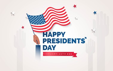 Happy Presidents` Day  flyer, banner or poster. Holiday background with waving flag in man`s hand. Vector flat illustration