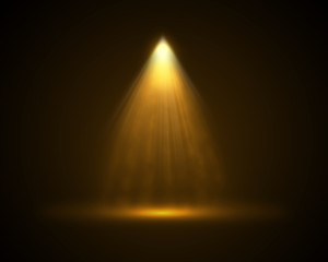Single yellow top light illuminated background.