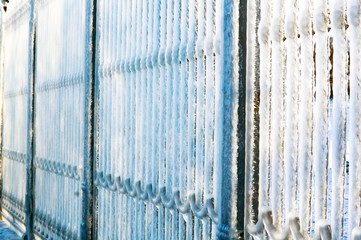 ice, winter, frost, ice, floe, cold, icicles, fence, fence, railing