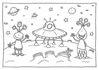 Ausmalbild Außerirdische