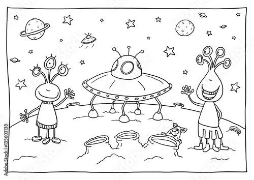 Ausmalbild Außerirdische\